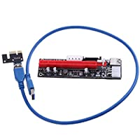 Macrorunjp PCI-E 1X to 16X ライザー エクステンダーカードUSB 3.0 PCI-E Express 拡張子ケーブル ビットコイン採掘 マイニング 4pin 6Pin PCI-Eと15Pin 転送速度最大5Gbps COT機能