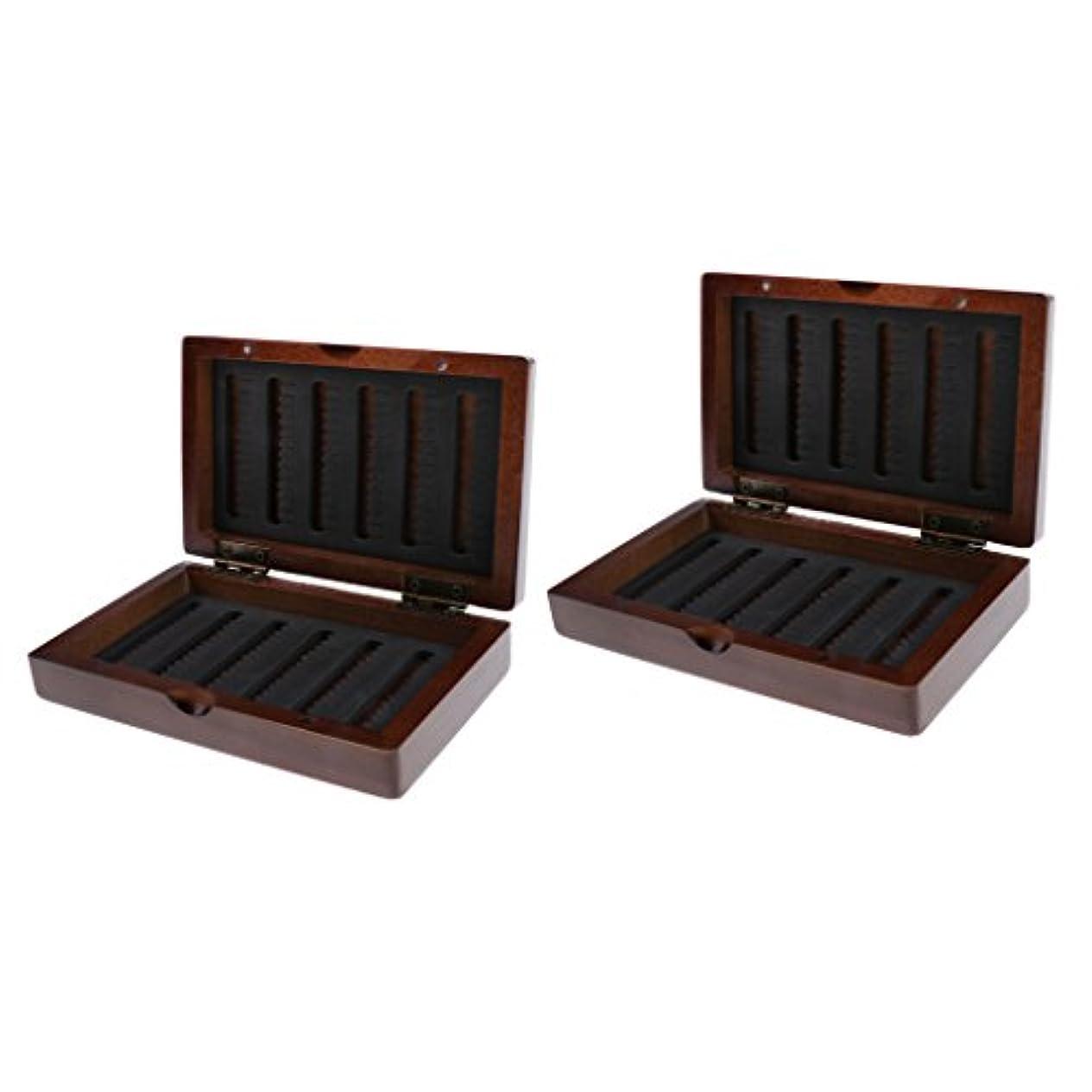 スプレーのヒープなんとなくBaoblaze ルアーボックス  タックルボックス 木製ケース 乾燥保つ フィッシングボックス 釣りアクセサリー 2個入り