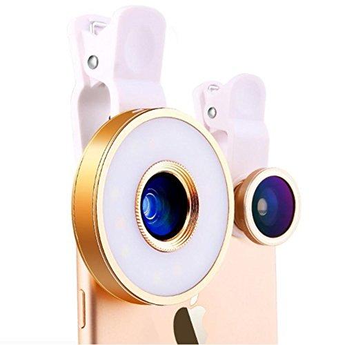 インスタ映え する♪ スマホ カメラ レンズ 3点 + 自撮りリング LEDライト セット(0.65X広角、10Xマクロ、180°魚眼レンズ) セット USB充電タイプ (ゴールド)