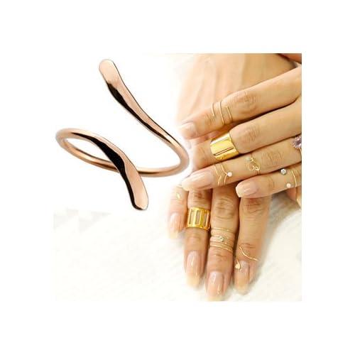 [アトラス] Atrus ファランジリング ピンクゴールドk18 ミディリング 関節リング 指輪 地金リング ピンキーリング 18金 フリーサイズ (3~7号) 140710101g 指先に着ける新感覚のリング スパイラル レディース