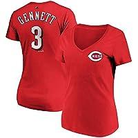 Majestic Majestic Scooter Gennett Cincinnati Reds Women's Red Name & Number V-Neck T-Shirt スポーツ用品 【並行輸入品】