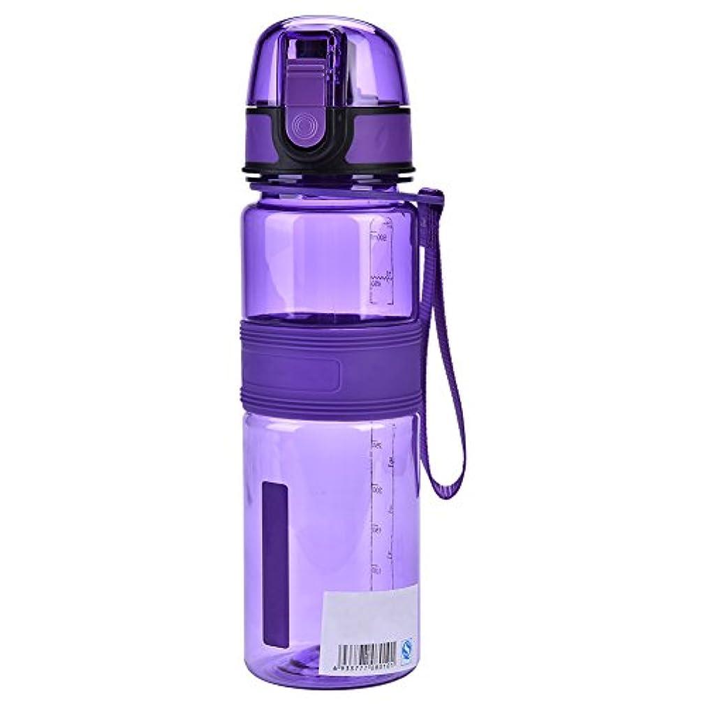 波紋同情的収穫ウォーター ボトル 500ml 直飲み 水筒 軽量 プラスチック キャップ スポーツ アウトドア 自転車用 ストラップ付き 全5色
