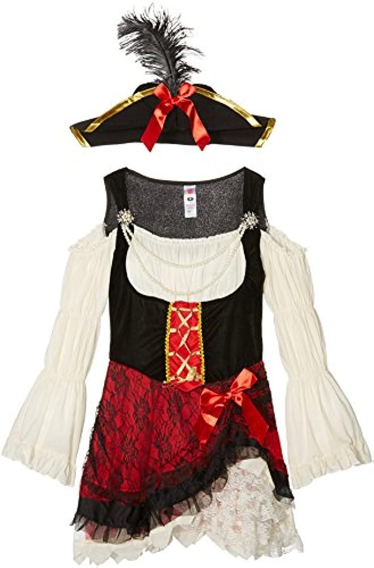 反逆者誇張弱点Smiffys Women's White/Black/Red Glamorous Lady Pirate Costume - Us Dress 6-8