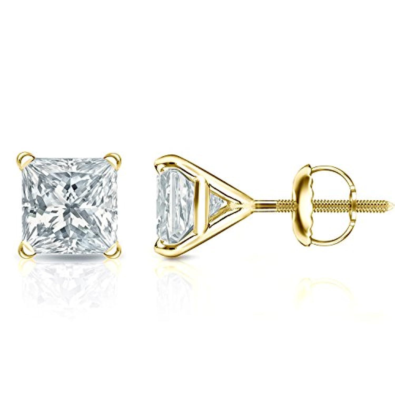 14 Kゴールド4プロングMartiniプリンセスカットダイヤモンドメンズスタッドイヤリング( 1 / 4 – 2 ct、G - H、si1 - si2screw-backs