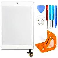 SKILIWAH® iPad mini&iPad mini2交換修理用 タッチパネル(フロントガラスデジタイザ)タッチスクリーン ホームボタン+ICチップ+取り付けテープ付属 ツール付き 修理パーツ部品 ホワイト