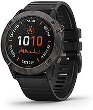 Garmin GM-010-02157-55 Fenix 6X Pro Solar DLC Watch with Band, Titanium Carbon Gray/Black