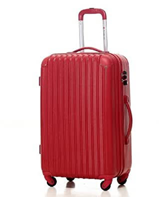 [Travelhouse]スーツケース キャリーケース 軽量 TSAロック ファスナータイプ 半鏡面仕上げ(SS, red)