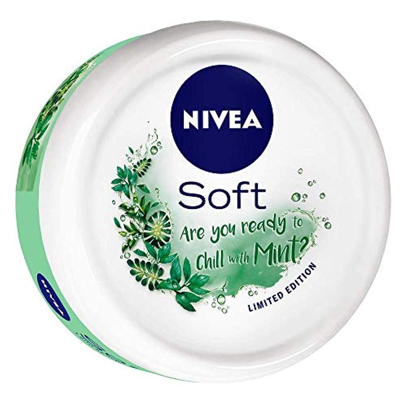 溶融カウントアップポップNIVEA Soft Light Moisturizer Chilled Mint With Vitamin E & Jojoba Oil, 200 ml