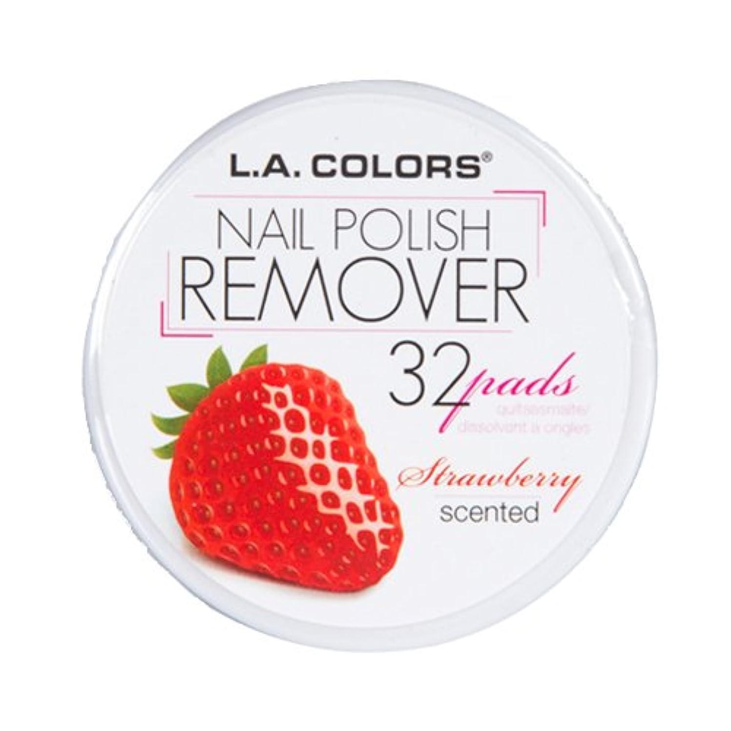 送料辛な強風(3 Pack) L.A. COLORS Nail Polish Remover Pads - Strawberry (並行輸入品)