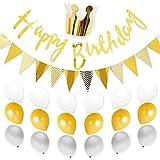 バースデーガーランド デコレーション 誕生日 パーティー ゴールド 飾り ハーフバースデー 1歳 2歳 3歳 [BIRTHDAY DECO] (ゴールド)