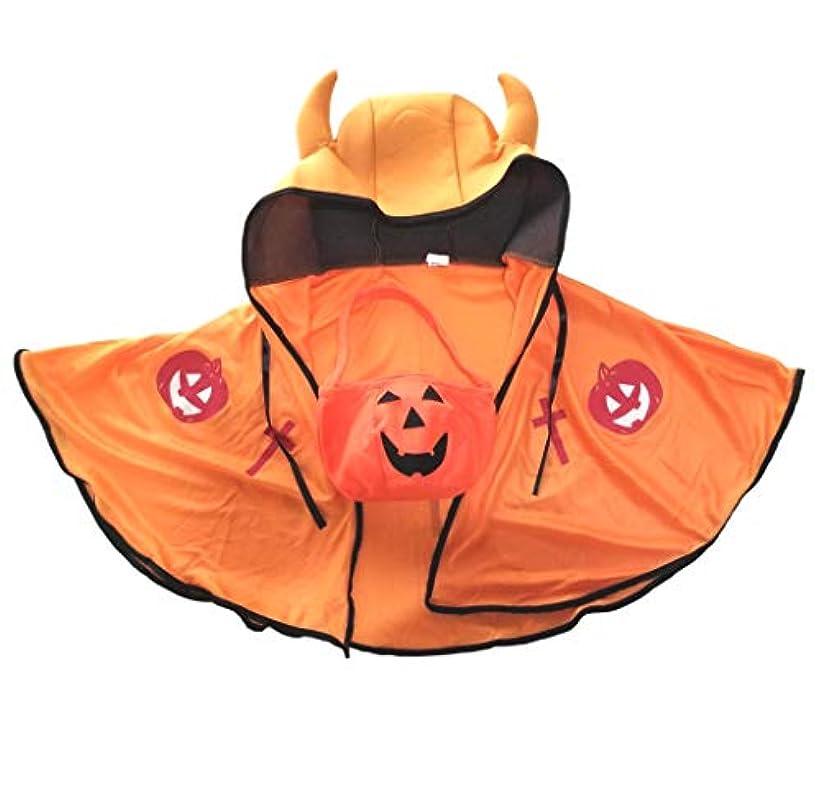 謝る同意瞑想的Aquamie 小悪魔 デビル フード付き マント ハロウィン コスチューム キッズ 子ども (オレンジ)