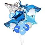 誕生日バルーン サメ 可愛いシャーク風船 男の子 子供 誕生日パーティー 一歳会 100日お祝いパーティー飾り 部屋装飾 35枚セット