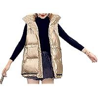 Women Hooded Metallic Quilted Down Vest Sleeveless Puffer Jacket