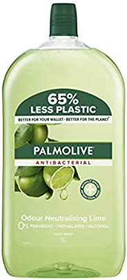 Palmolive Antibacterial Liquid Hand Wash Soap Lime Odour Neutralising Refill and Save 0% Parabens Recyclable,
