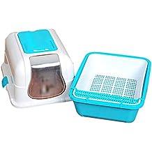 Pet toilet Cat Litter Pet Toilet Splash Prevention Deodorant Fully Enclosed Double Layer Cat Toilet Drawer Type Deodorized Litter Box Pet Supplies (Color : Blue)