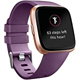 Tobfit Compatible Bands Replacement for Fitbit Versa, Silicone Wristbands Versa Accessories for Women and Men (Purple, Small)