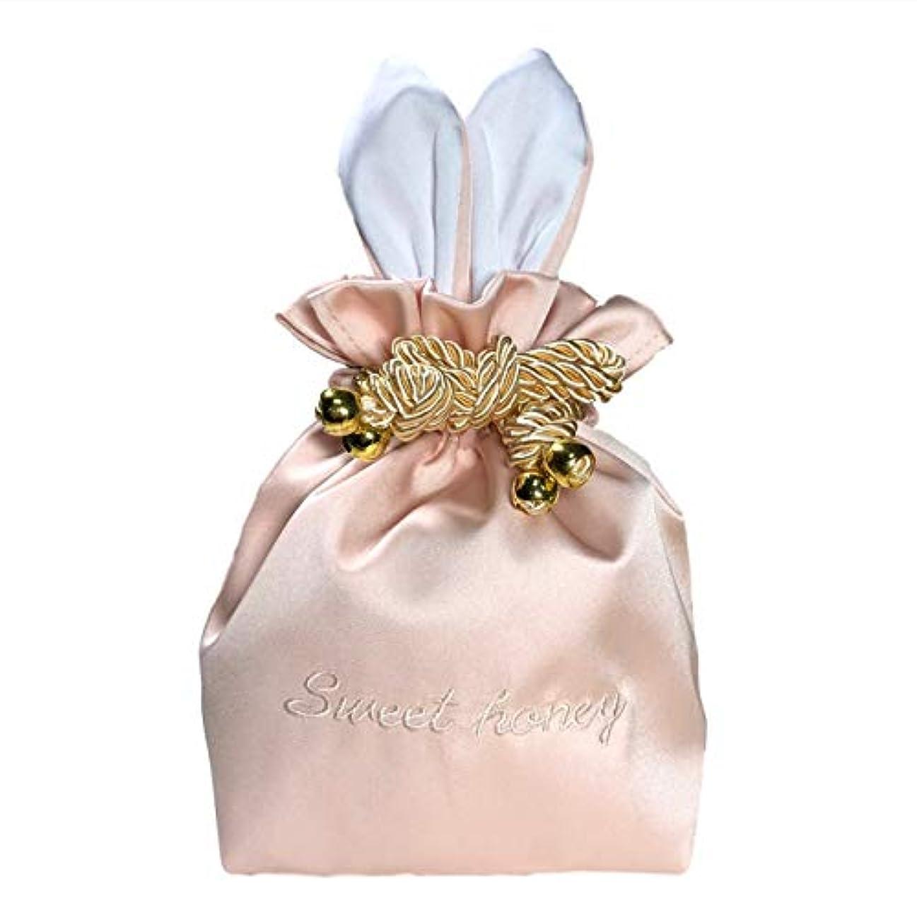鋭くダッシュ相談するRER ウサギ コスメポーチ 化粧ポーチ 化粧品 たっぷり 収納 ポーチ コスメ ケース 巾着 (ピンク)