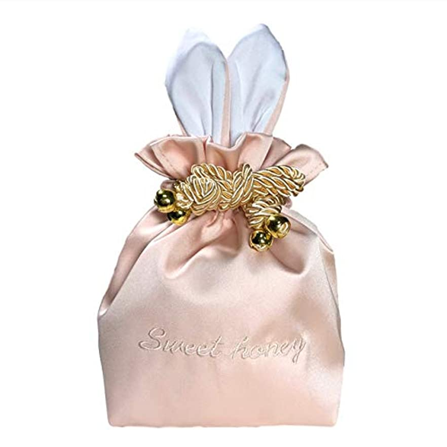 ポーク時計回りスポーツをするRER ウサギ コスメポーチ 化粧ポーチ 化粧品 たっぷり 収納 ポーチ コスメ ケース 巾着 (ピンク)
