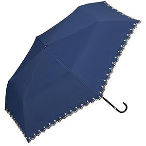 w.p.c 日傘 晴雨兼用 折りたたみ 遮光 星柄 スカラップ ネイビー 50cm 801-972