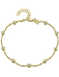 Amberta Gold Plated on 925 Sterling Silver Adjustable Anklet - Classic Chain Ankle Bracelets - 22 to 26 cm - Flexible Fit