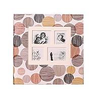 レザーフォトアルバムInterstitial結婚式の家族5678インチミックス660写真レトロシンプルアルバム34.5×34×5.5センチ LUYIYI (Color : Khaki)