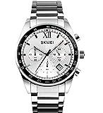 Skmei メンズ ユニーク クォーツ ビジネス ウォッチ ミリタリー 防水 ステンレススチール バンド 腕時計 スペシャル 男性用