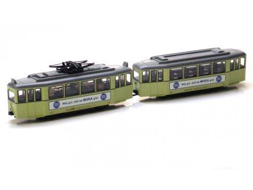 ■【カトー】(K14631)(N)Tram Car 2両セット クリーム NIVEA広告付 鉄道模型 KATO(外国車両)