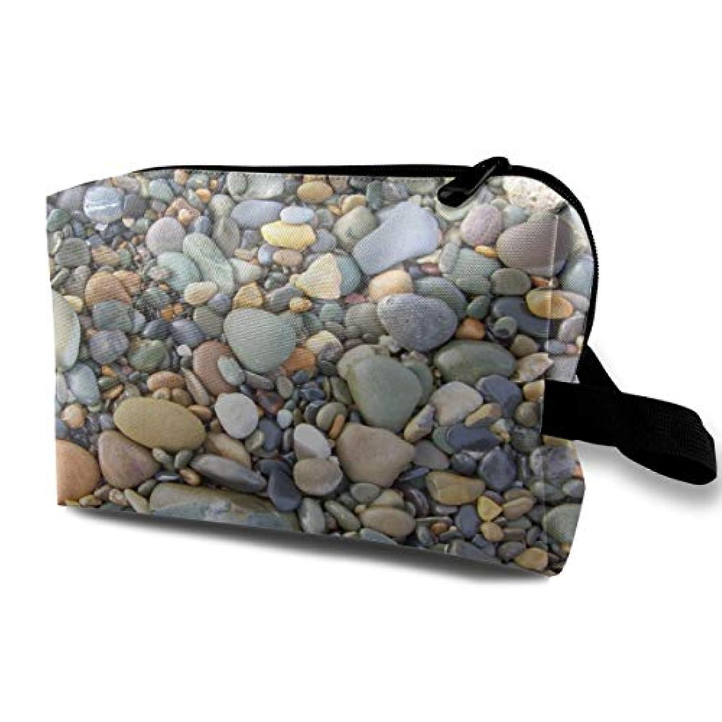追うしわ雄弁なPebble Stone Pattern 収納ポーチ 化粧ポーチ 大容量 軽量 耐久性 ハンドル付持ち運び便利。入れ 自宅?出張?旅行?アウトドア撮影などに対応。メンズ レディース トラベルグッズ