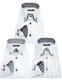 北斎(ホクサイ) 襟高 長袖ワイシャツ3枚セット メンズ