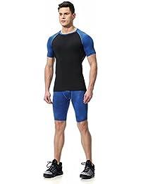kayiyasuジャージ上下セット メンズ Tシャツ トレーニングウエア 半袖 ジム 練習着 吸汗速乾 043-sgt-l06(S ブルー)