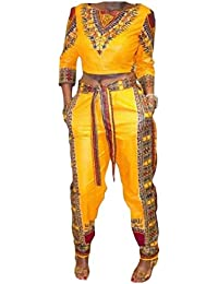 Tootess 女性ストラップ付き帝国ウエストダシキアフリカブラウス+ロングパンツ