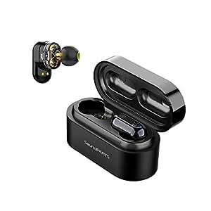 SoundPEATS(サウンドピーツ) Truengine ワイヤレスイヤホン デュアルドライバー イヤホン 高音質 AAC対応 Bluetooth5.0 完全ワイヤレス イヤホン IPX6防水 自動ペアリング 左右分離型 両耳/片耳対応 マイク内蔵 両耳通話 音量調整可能 Bluetooth イヤホン TWS ブルートゥース ヘッドホン フルワイヤレス ヘッドセット[メーカー1年保証] ブラック