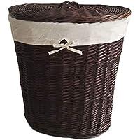 ランドリーバスケットラタン蓋付き汚れたハンパーコットンリネンライニング服雑貨保存バスケットブラック、51 * 38 * 55cm