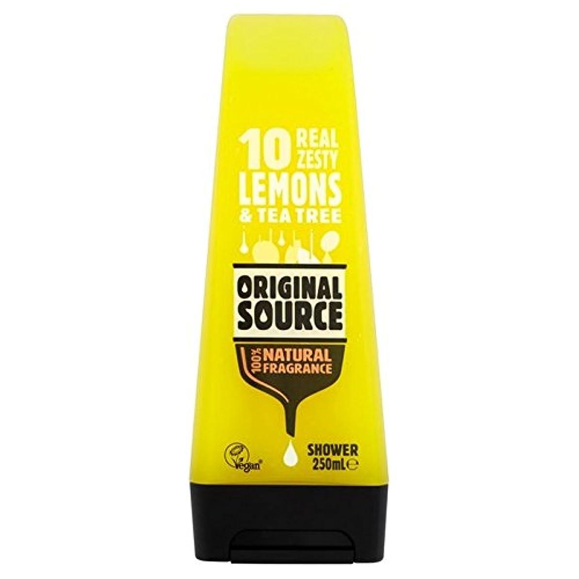 柱うれしい葉を拾う元のソースのレモンシャワージェル250ミリリットル x4 - Original Source Lemon Shower Gel 250ml (Pack of 4) [並行輸入品]