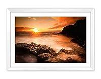 白い木枠フレーム ホーム装飾ポスター 額入り絵画(日没、海、ビーチ、岩、石、雲)50x35cm