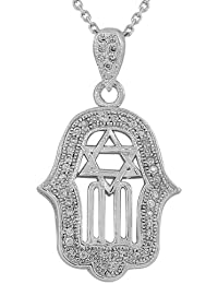 925 Sterling Silver Large Hamsa Jewish Star of David White CZ Pendant Necklace