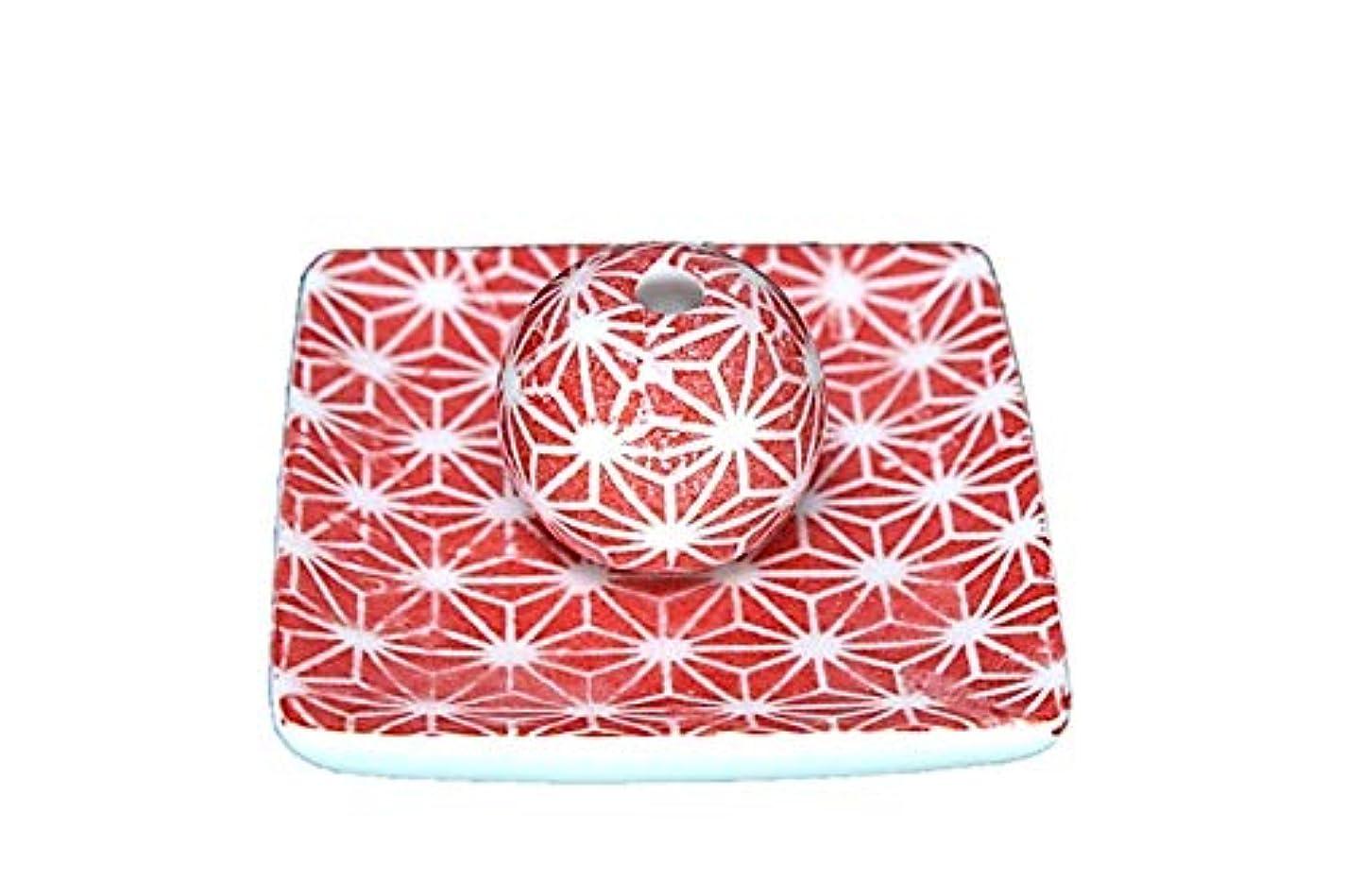 リークエクスタシー論争の的赤色麻葉 小角皿 お香立て 陶器 ACSWEBSHOPオリジナル
