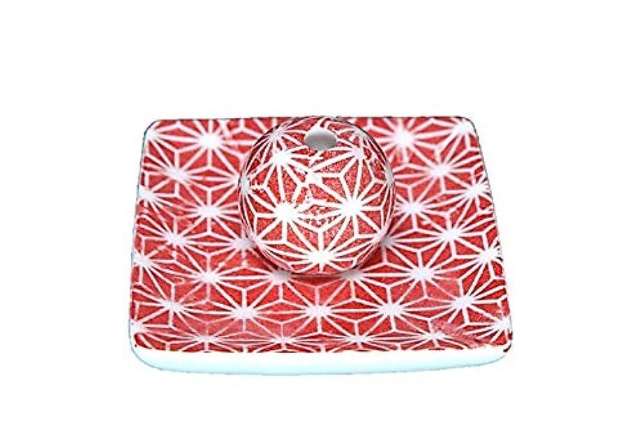 顕著規定リフト赤色麻葉 小角皿 お香立て 陶器 ACSWEBSHOPオリジナル