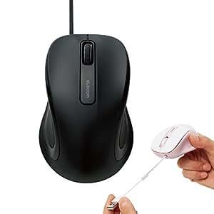 エレコム 有線マウス 静音 クリック音95%軽減 巻き取り式 リール内蔵 3ボタン ブラック M-MK1UBSBK