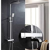 シャワーシステム、サーモスタット - シャワーシステムクロム調節可能なスライドバー - レインシャワーとハンドヘルド - 3つのアウトレットシャワーの柔軟性 - 銅/豪華なバスルームシャワーセット