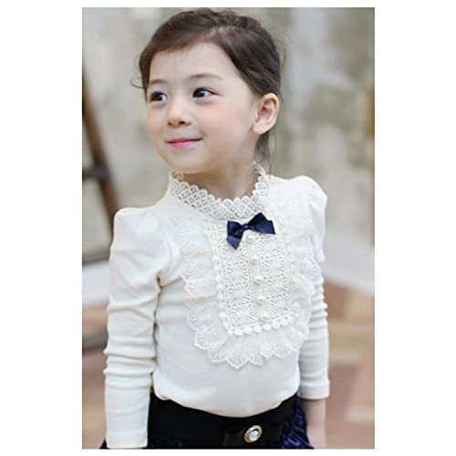 03178fc7b38bf  Kohanet(コハネット) 女の子 レース付きおしゃれ ブラウス シャツ 襟付き リボン付き