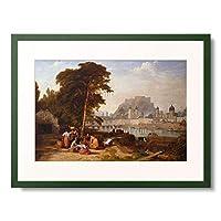 Rogers, Philip Hutchins,1794-1853 「Blick auf Salzburg mit Wascherinnen im Vordergrund. 1842.」 額装アート作品