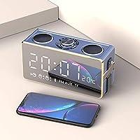 時計ラジオ寝室の予備バッテリー、ラインミニbluetoothスピーカー大容量サブウーファー3dサラウンドカーポータブルホーム小さな目覚まし時計,gold