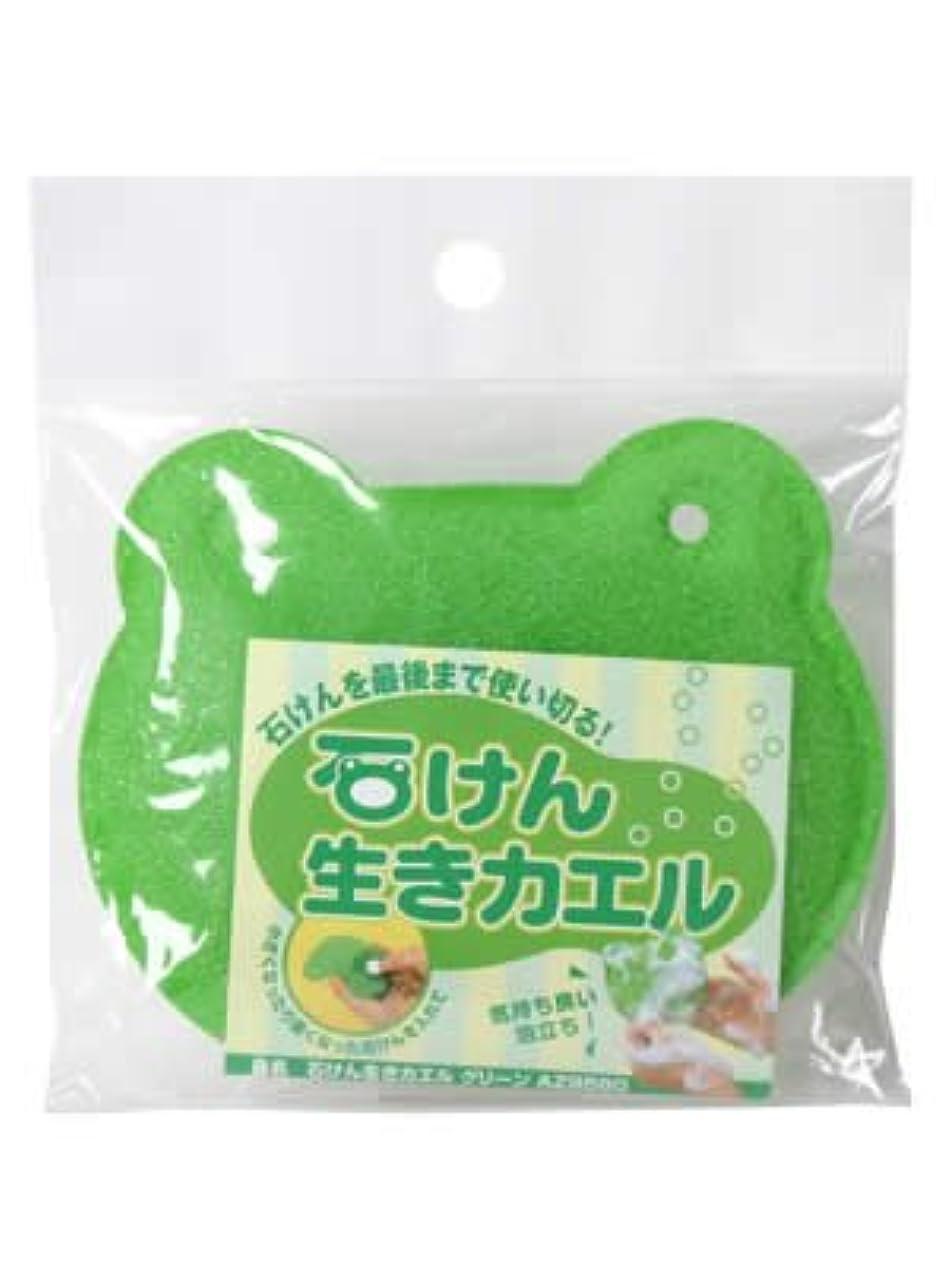 皿偽蚊アズマ 石鹸ネット 石けん生きカエル グリーン AZ958G