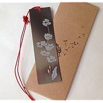 蓮の花(君子花) ステンレス金属 しおり ブックマーク stainless steel bookmark-lotus