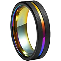 Queenwish 6mm Rainbow Black Brushed Tungsten Wedding Band Triton Gorgeous Center Grooved Couples Rings
