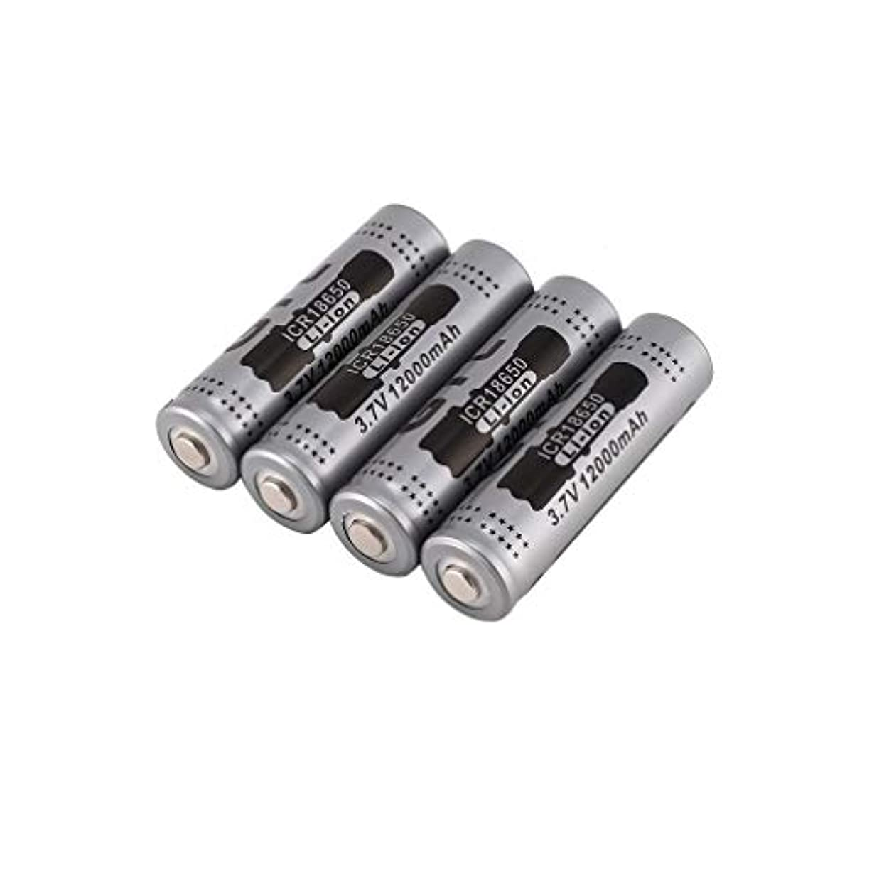 補体可能性賭け18650バッテリー、3.7V12000mAh充電式リチウムイオンバッテリー、充電器バッテリー防爆リークプルーフ高い人気懐中電灯用の充電式リチウムバッテリー電子ツールリモートコントロール4個/カセット装 省エネと環境保護