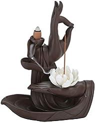 手作りセラミックロータス逆流香炉ホーム香コーンスティックバーナーホルダー装飾工芸ギフト香ホルダー (Color : As shown, サイズ : 8.34*6.49*3.07inchs)