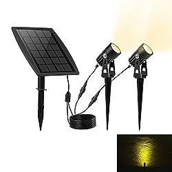 KEYNICE ソーラー LED ライト アウトドア スポットライト 太陽光パネル充電 ガーデンライト 防犯対策IP65防水 15メートル照明距離 光センサー 自動点灯 消灯 玄関先 庭 車道 歩道のライトアップに適用 ウォームホワイト