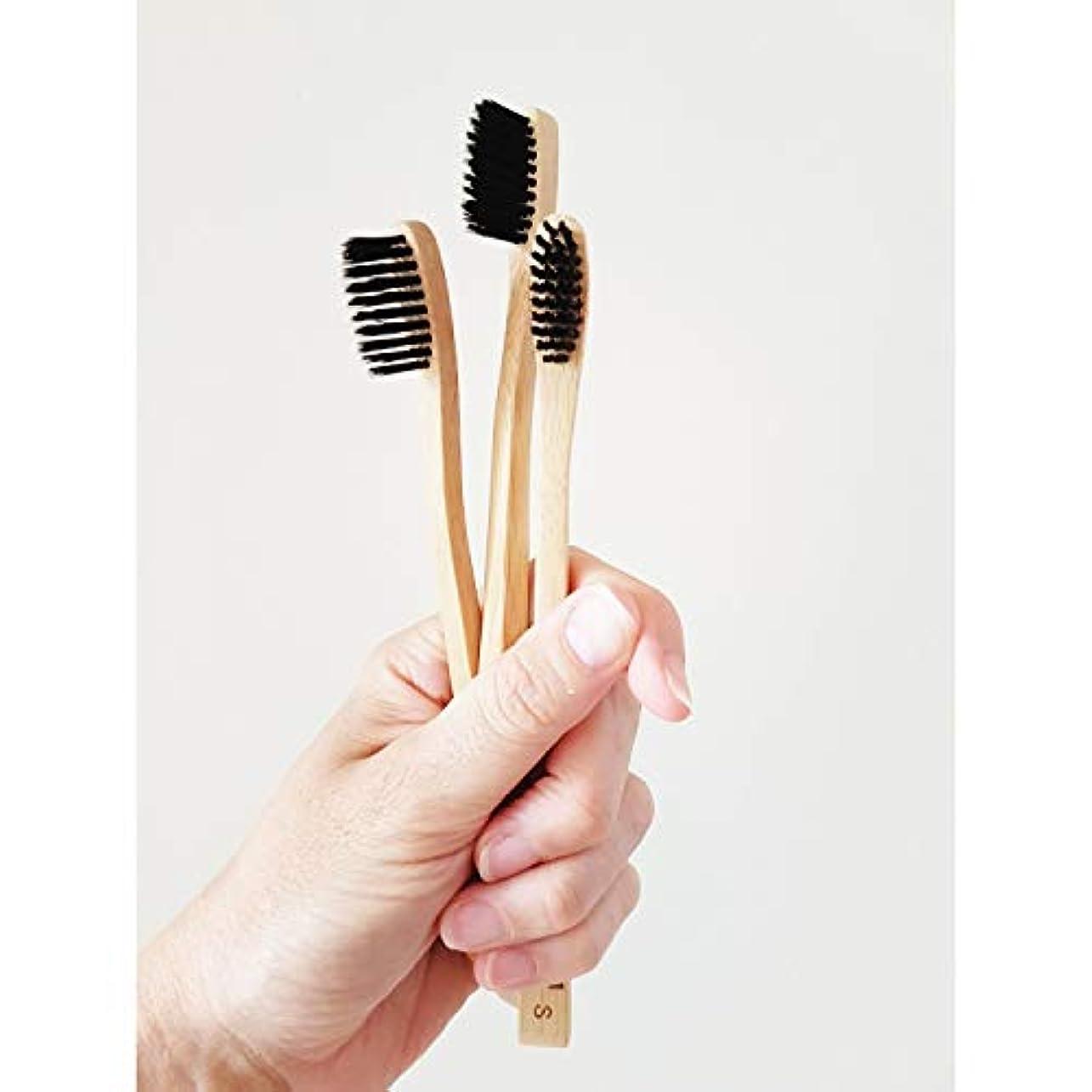 田舎者メッセージ金曜日Ladybug 竹の歯ブラシ 竹炭毛 バンブー歯ブラシ (3本入りセット)